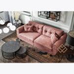 Sofa Beli z poduszkami, guziki, pudrowy róż