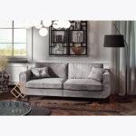 Sofa Beli z poduszkami, gładka- szara