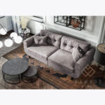 Sofa Beli z poduszkami, guziki - szara