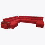 Narożnik Loft 206 czerwona duża rogówka w literkę U