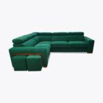 Zestaw narożnik z pufami + fotel relax