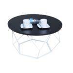 Stolik kawowy druciany okrągły BIAŁY MAT + CZARNY mini Pearl